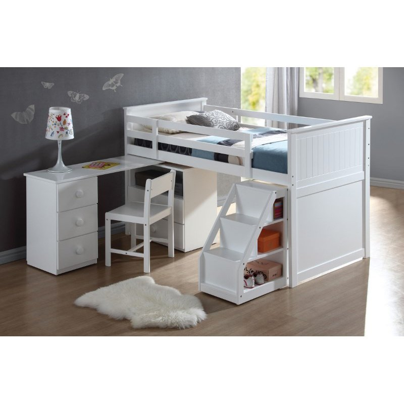HomeRoots Furniture Loft Bed (with Chest and Swivel Desk/Ladder), White - Rubber Wood, LVL, MDF, Pa White (285857)