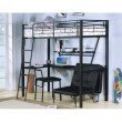 HomeRoots Furniture Loft Bed with Desk, Silver & Black - Metal Tube, MDF w/PVC Silver & Black (285607)