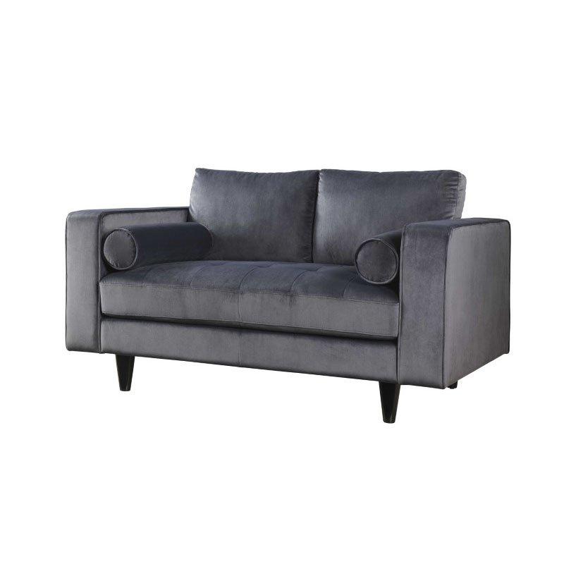 HomeRoots Furniture Loveseat in Gray Velvet - Velvet, Memory Foam, Pine Wood, Plywood, Foam (318806)