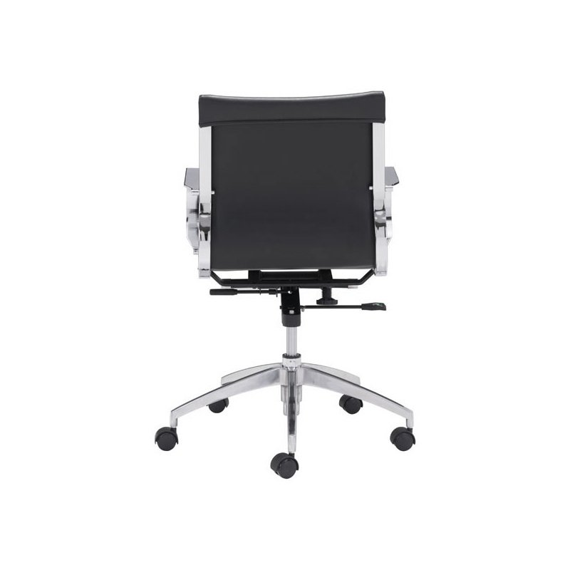 HomeRoots Furniture Low Back Office Chair Black - Leatherette Chromed Steel, Brushed Aluminum (248825)