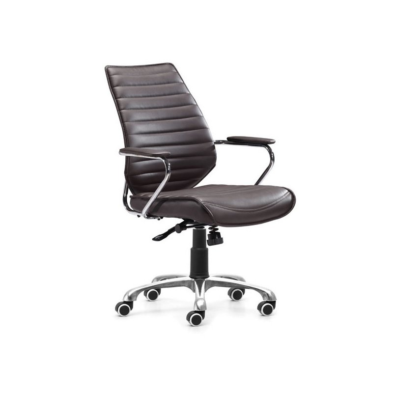 HomeRoots Furniture Low Back Office Chair Esp - Leatherette Chromed Steel (248966)