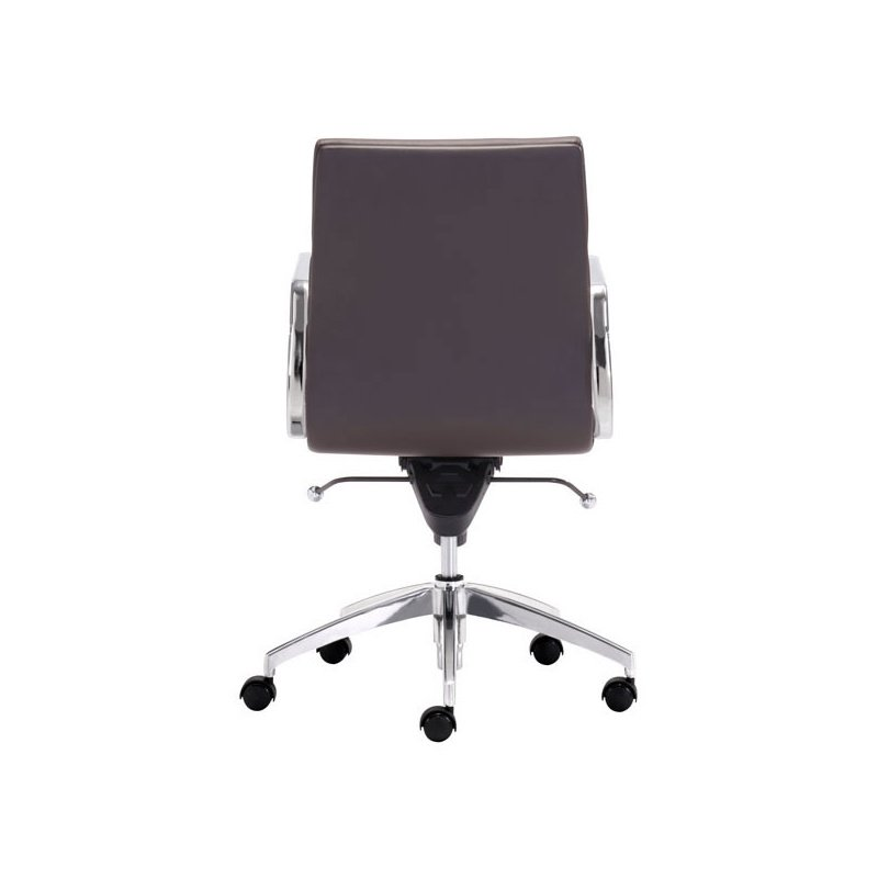 HomeRoots Furniture Low Back Office Chair Espresso - Leatherette Chromed Steel (248992)