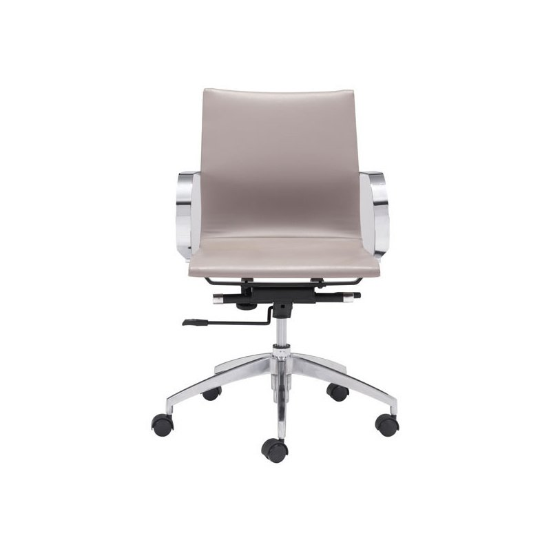 HomeRoots Furniture Low Back Office Chair Taupe - Leatherette Chromed Steel, Brushed Aluminum (248827)