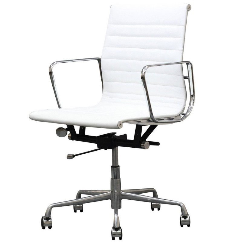 HomeRoots Furniture Mid-Back Adjustable Office Chair in White (297065)