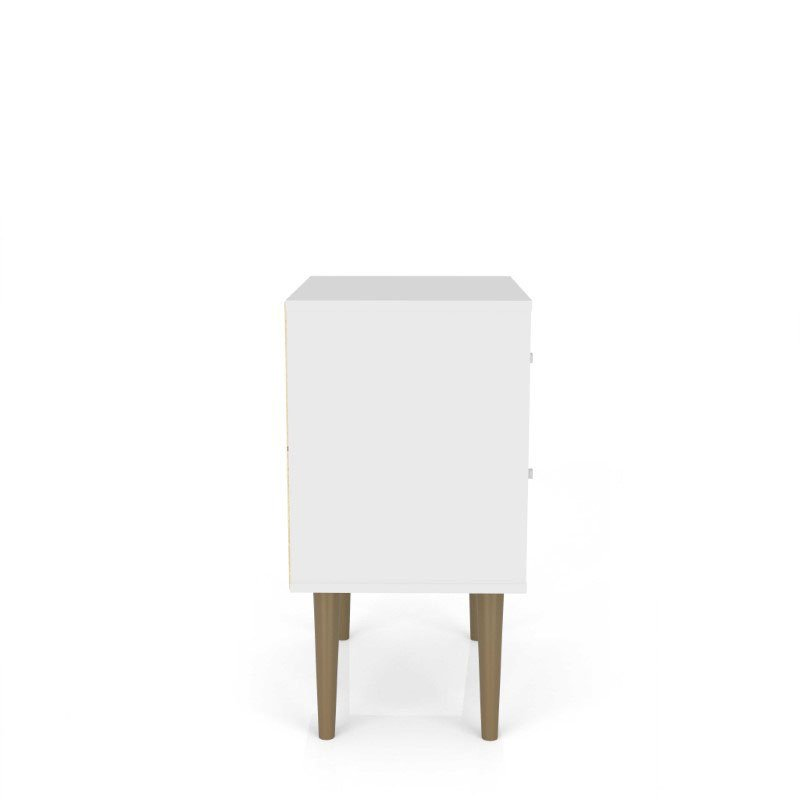 HomeRoots Furniture Mid Century - Modern Nightstand 2.0 with 2 Full Extension Drawers in White and 3D Brown Prints (319253)