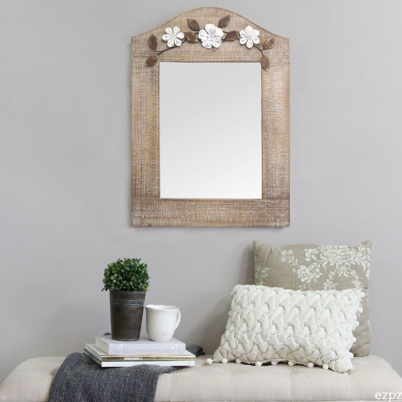HomeRoots Furniture Mirror with A Whitewash Finish and Pleasant Floral Design (321274)