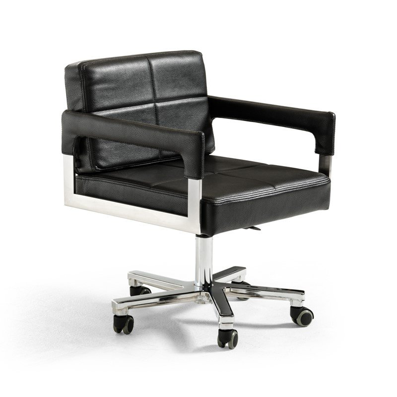 HomeRoots Furniture Modern Black Bonded Leather Office Chair (284196)