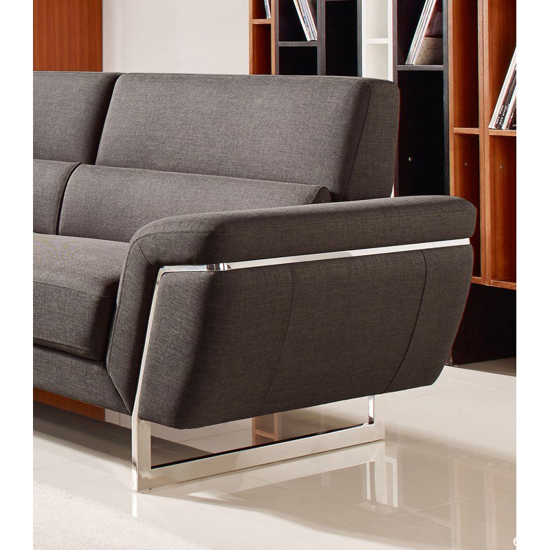 HomeRoots Furniture Modern Brown Fabric Sectional Sofa (283867)
