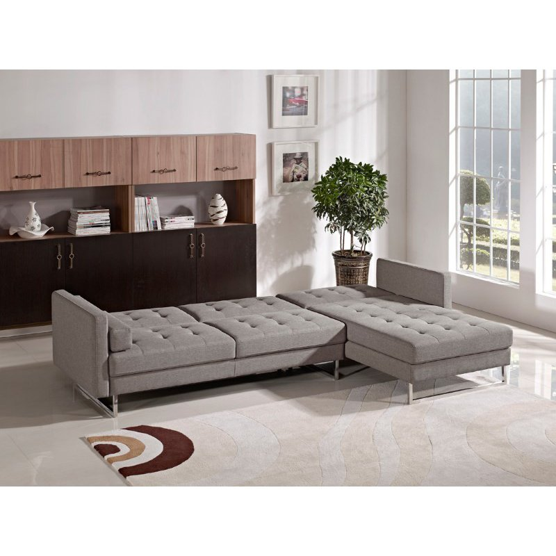 HomeRoots Furniture Modern Brown Fabric Sectional Sofa (283896)