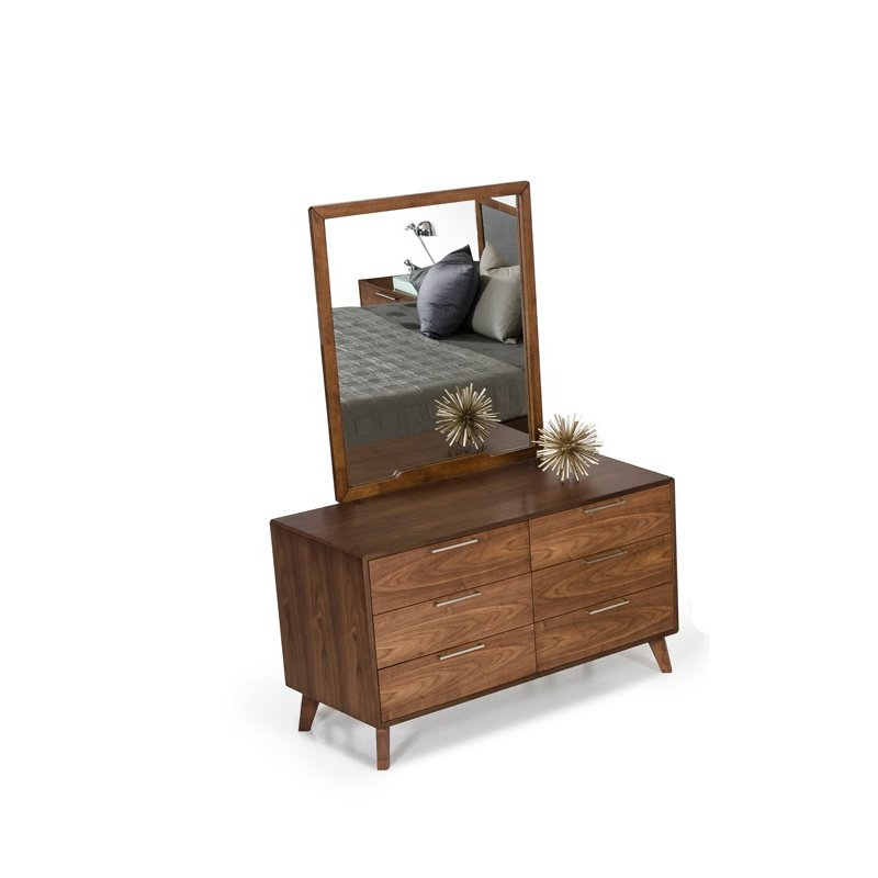 HomeRoots Furniture Modern Walnut Mirror (283799)