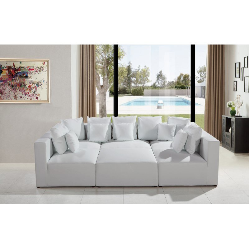 HomeRoots Furniture Modern White Bonded Leather Sectional Sofa (283143)