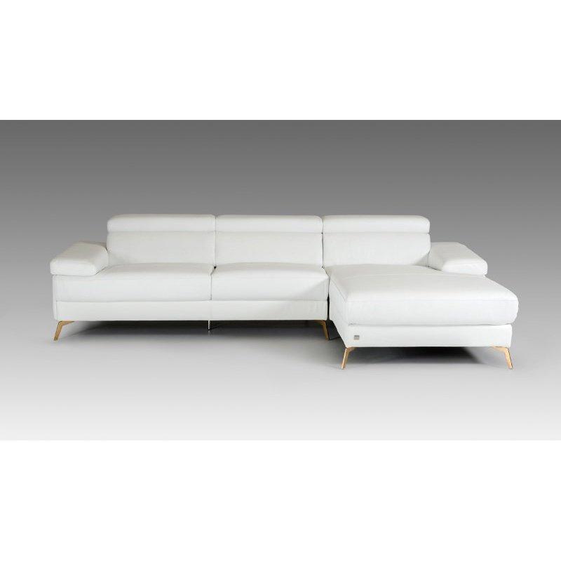 HomeRoots Furniture Modern White Italian Leather Sectional Sofa (282865)