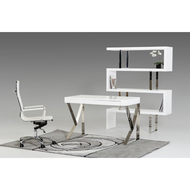 HomeRoots Furniture Modern White Lacquer Office Desk (282777)