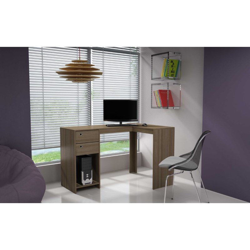 """HomeRoots Furniture Modest Classic """"L"""" Shaped Desk with 2 Drawers and 1 Cubby in Oak (250804)"""
