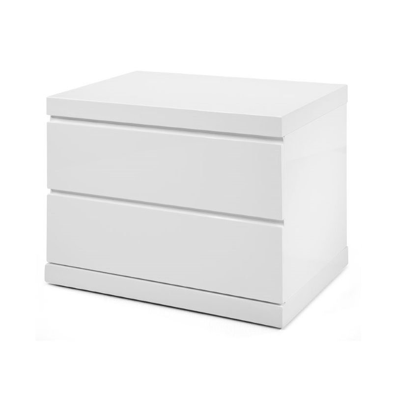HomeRoots Furniture Night Stand Small High Gloss White Full Extension Drawers (320822)
