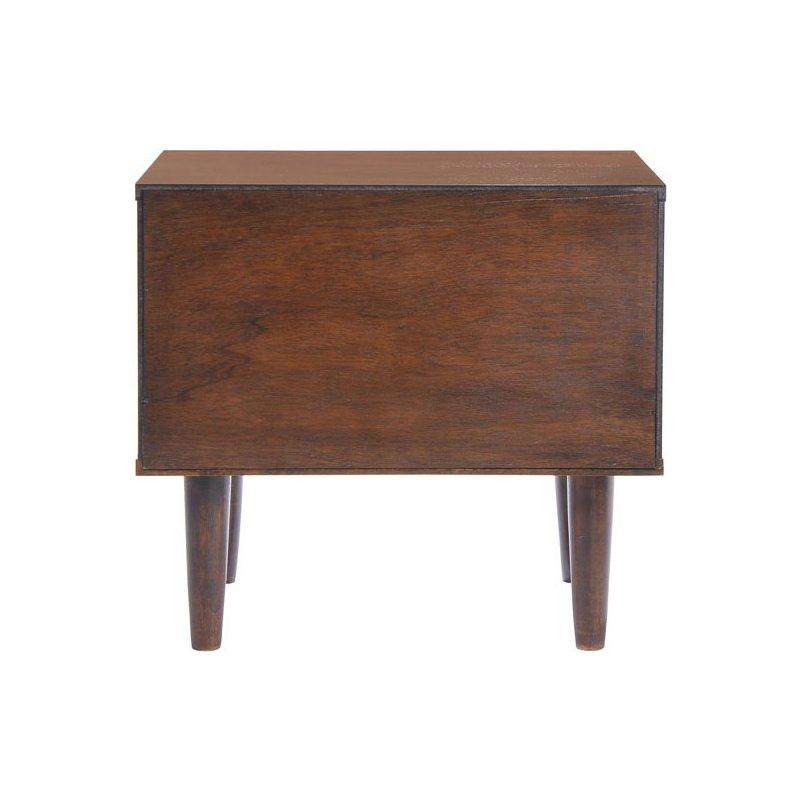 HomeRoots Furniture Night Stand Walnut & White - Wood Veneer Rubberwood (249261)
