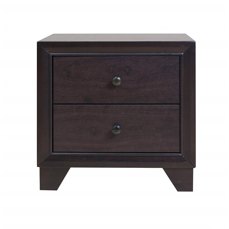 HomeRoots Furniture Nightstand , Espresso - Rubber Wood, Tropical Woo Espresso (285542)