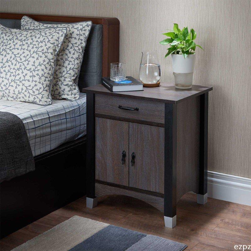 HomeRoots Furniture Nightstand, Gray Oak - Particle Board, MDF Gray Oak (286119)