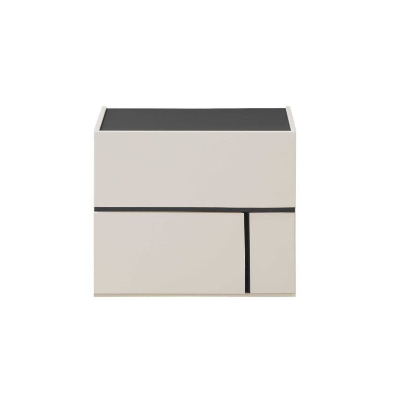 HomeRoots Furniture Nightstand in Cream White and Dark Grey - MDF, Poplar, Plywood (319116)