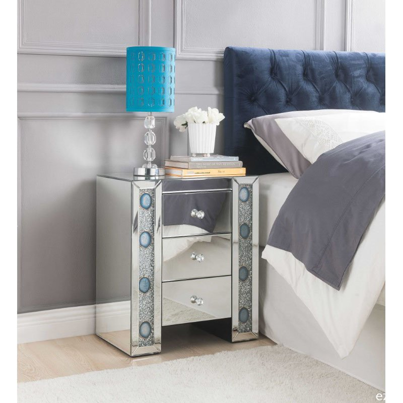 HomeRoots Furniture Nightstand in Mirrored and Faux Agate - Mirror, Glass, MDF, Faux Agate, Acrylic (319098)