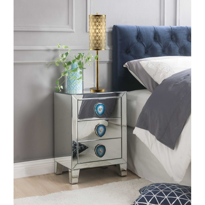 HomeRoots Furniture Nightstand in Mirrored and Faux Agate - Mirror, MDF, Faux Agate (319099)