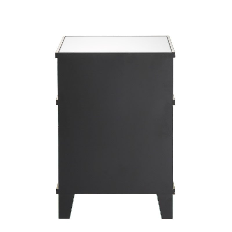 HomeRoots Furniture Nightstand in Mirrored and Gold - Mirror, MDF, Titanium Stainless Steel (319100)