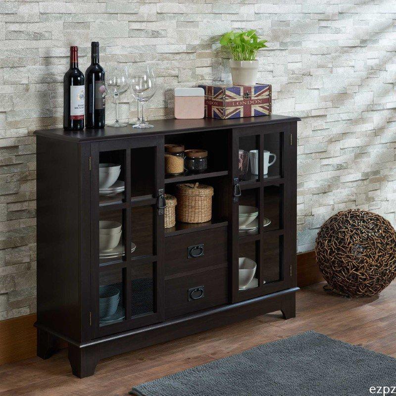 HomeRoots Furniture Nightstand in Walnut - Particle Board , MDF Walnut (286438)