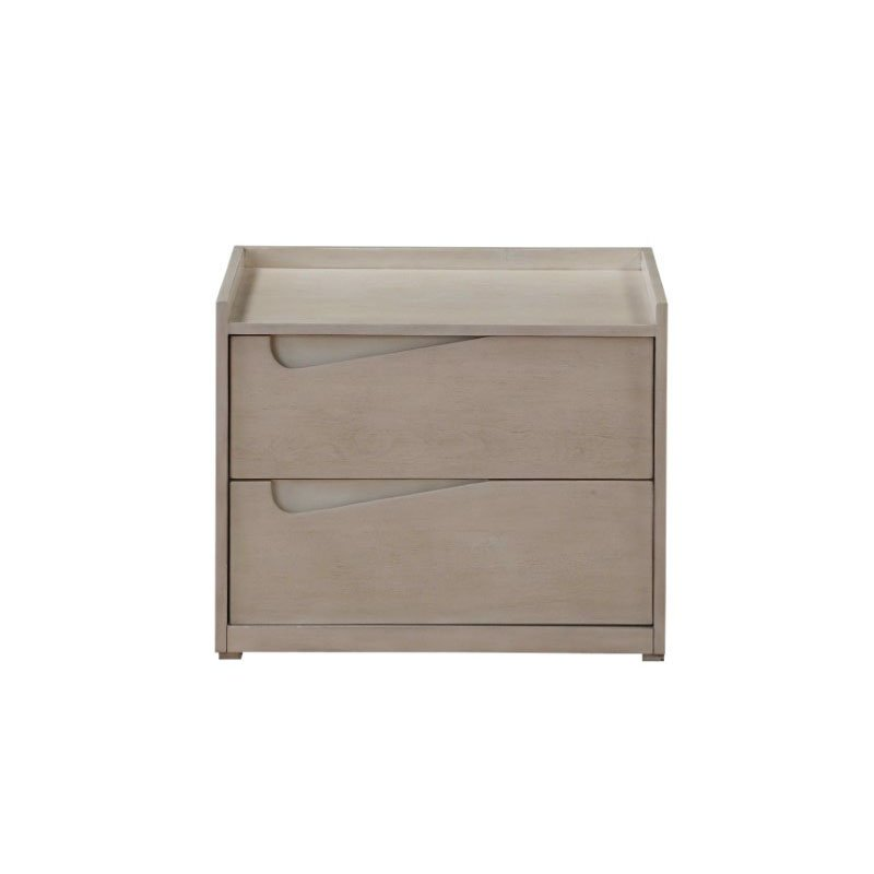 HomeRoots Furniture Nightstand in Whitewashed Wood - MDF, Poplar, Plywood (319118)