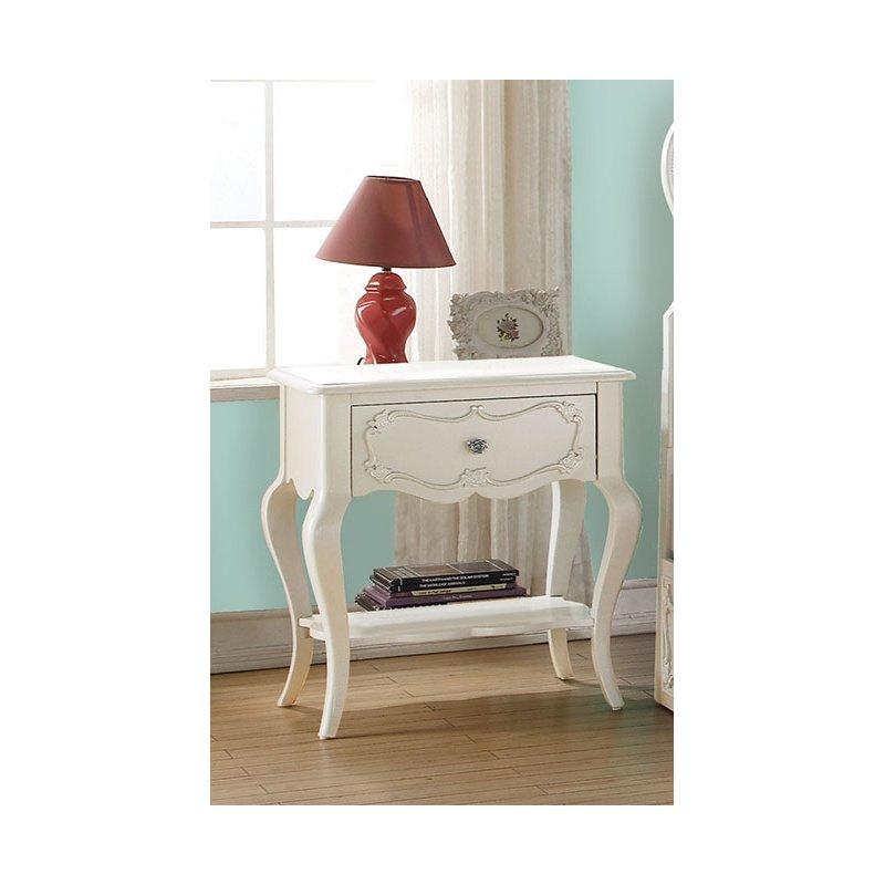 HomeRoots Furniture Nightstand , Pearl White - Pine Wood Pearl White (285572)
