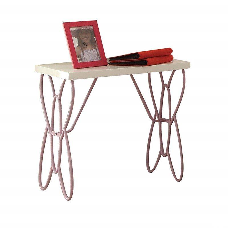 HomeRoots Furniture Nightstand , White & Light Purple - MDF, High Gloss Finish (285578)