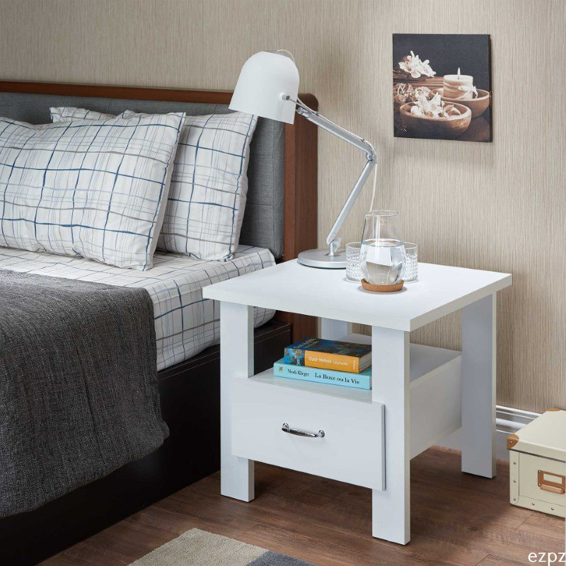 HomeRoots Furniture Nightstand, White - Particle Board, MDF White (286123)