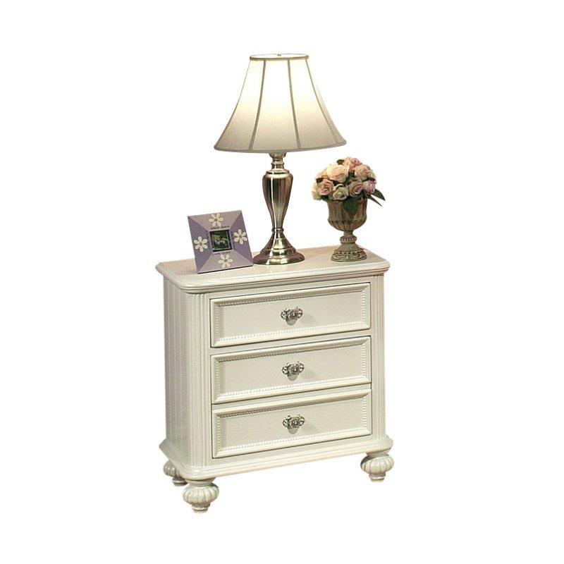 HomeRoots Furniture Nightstand, White - Pine, MDF (No Ven), Plywo White (285571)
