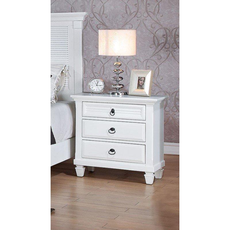 HomeRoots Furniture Nightstand , White - Poplar & Pine Wood, Wood White (285872)