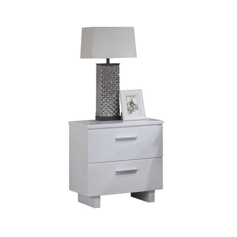 HomeRoots Furniture Nightstand , White - White Wooden Leg White (286602)
