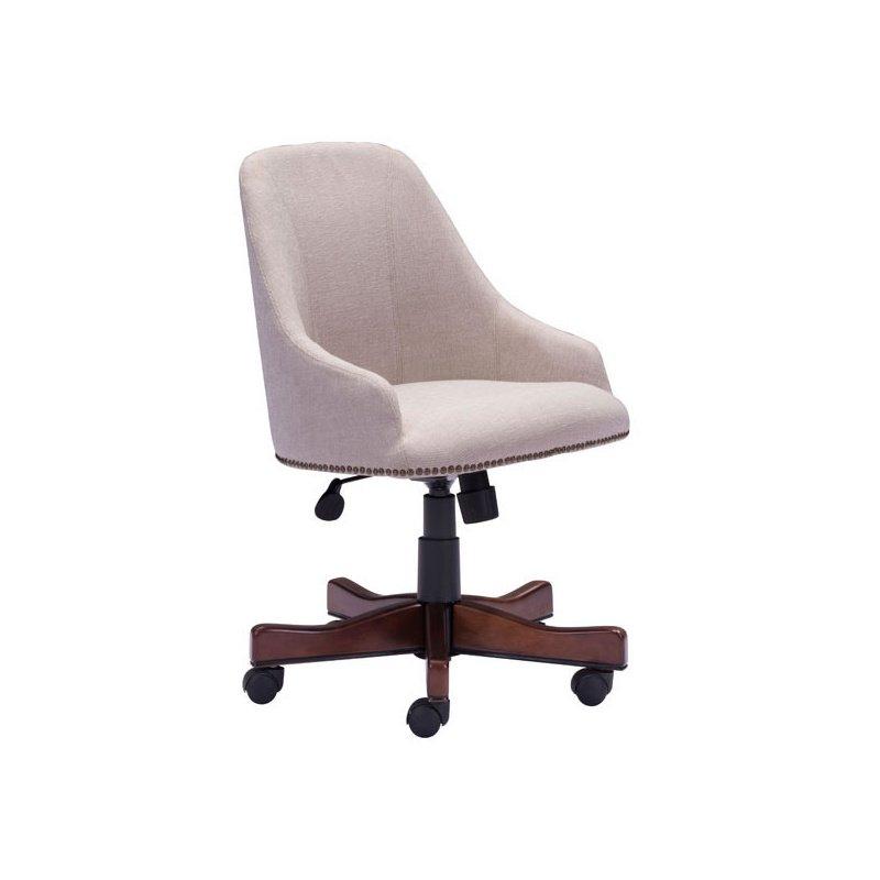HomeRoots Furniture Office Chair Beige - Polyester Linen Poplar (248994)