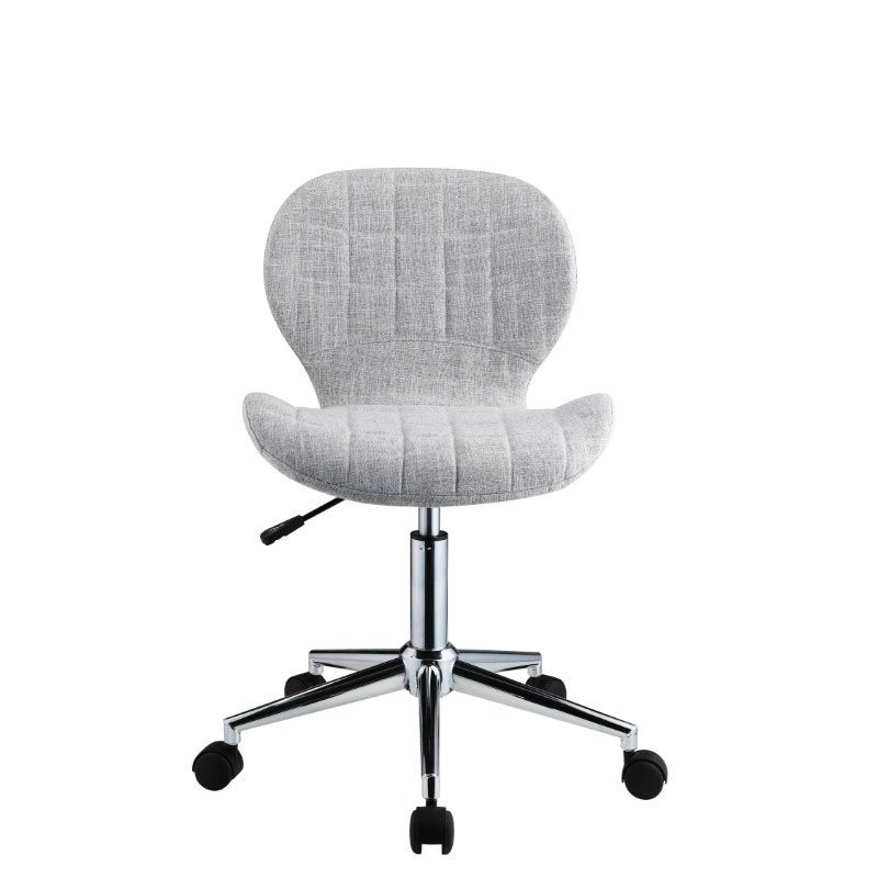 HomeRoots Furniture Office Chair in Light Blue-Gray Fabric - PU, Wood, Metal, Foam, Gas Lift (319079)