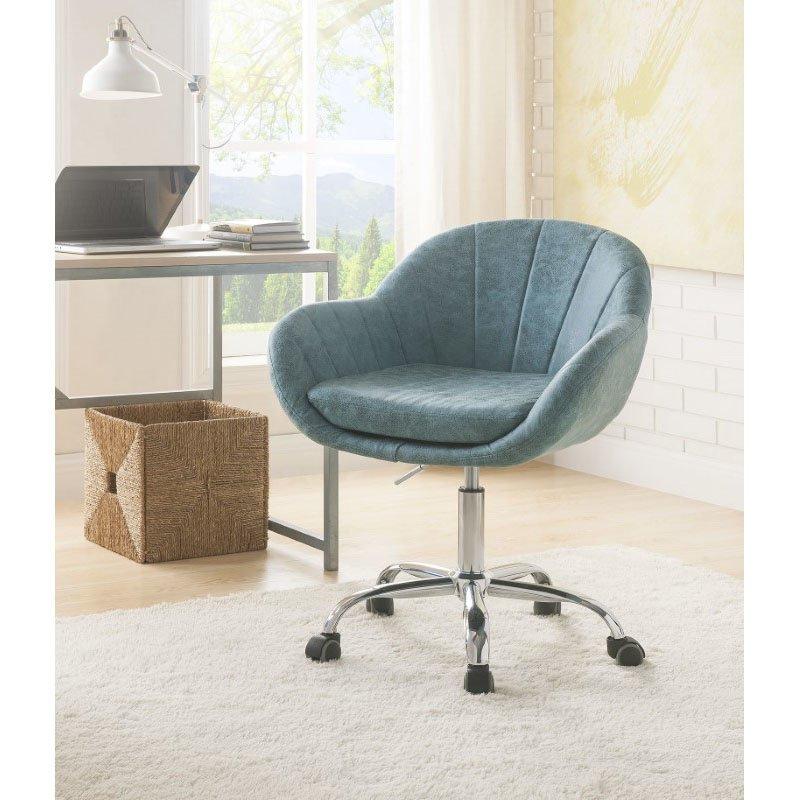 HomeRoots Furniture Office Chair in Peacock - Metal Tube, Wood, Pu, Foam (319073)