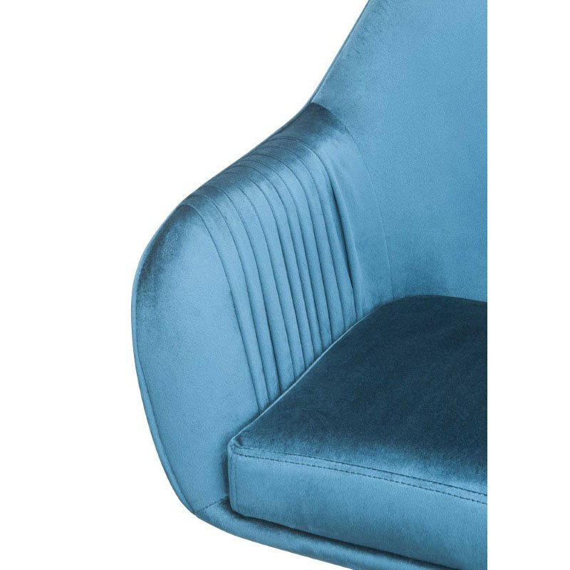 HomeRoots Furniture Office Chair in Peacock Velvet - Metal Tube, Foam, Fabric (319076)