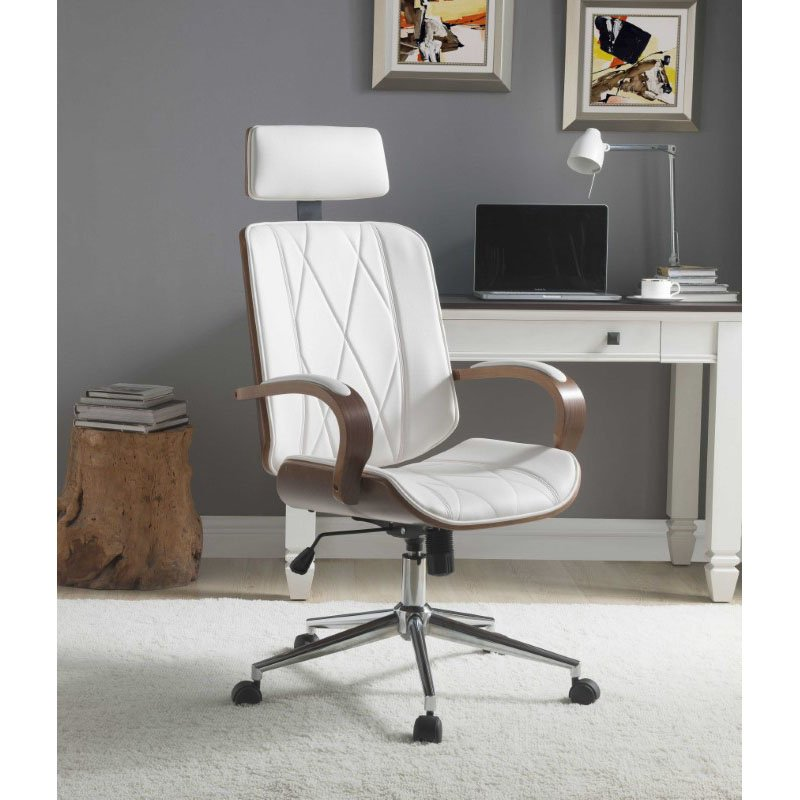 HomeRoots Furniture Office Chair in White Leatherette and Walnut (319082)