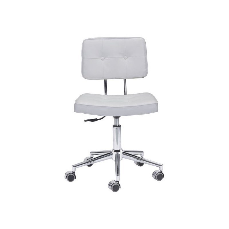 HomeRoots Furniture Office Chair White - Leatherette Chromed Steel (248734)