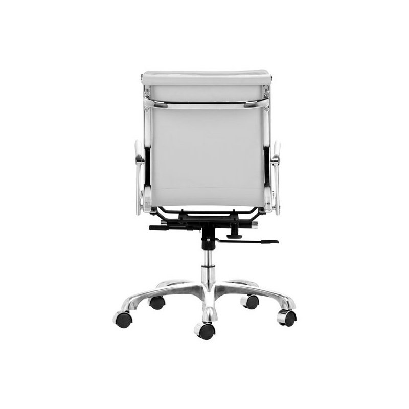 HomeRoots Furniture Office Chair White - Leatherette Chromed Steel (248998)
