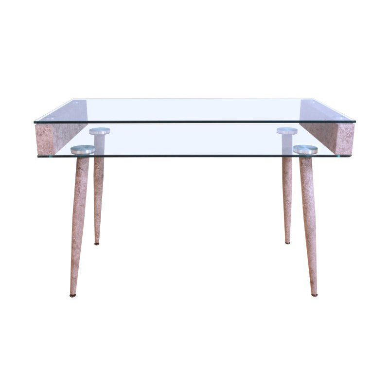 HomeRoots Furniture Office Desk in Clear Glass - Glass, Paper Veneer, MDF Clear Glass (286407)