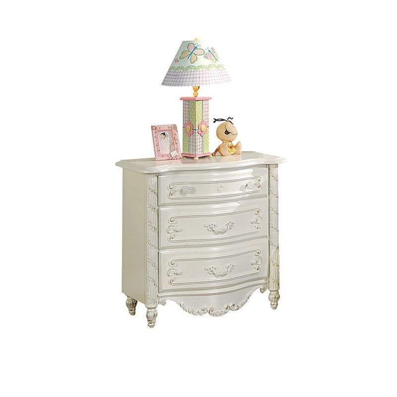 HomeRoots Furniture Pearl White Nightstand - Gold Brush Accent (320536)