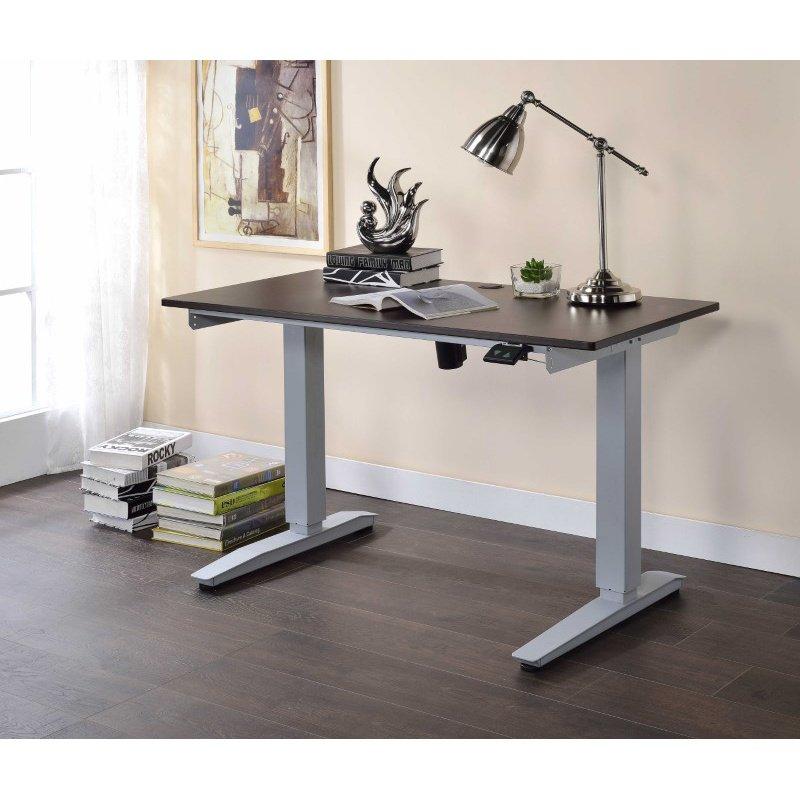 HomeRoots Furniture Power Lift Desk in Black Glass - Glass, Metal, Power Lift Black Glass (286414)
