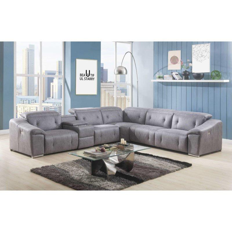 HomeRoots Furniture Power Reclining Sectional Sofa in Gray Polished Microfiber, Metal, Laminated Veneer Lumber, Plywood, Foam (318821)