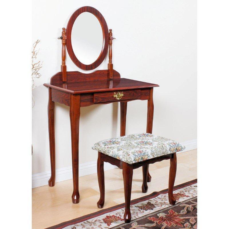 HomeRoots Furniture Queen Anne Vanity Set, Cherry (285493)