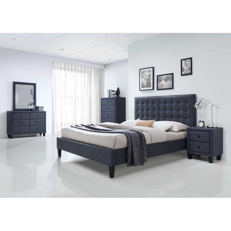 HomeRoots Furniture Queen Bed, 2-Tone Gray PU - Dark Gray PU, Wood, LVL (285884)