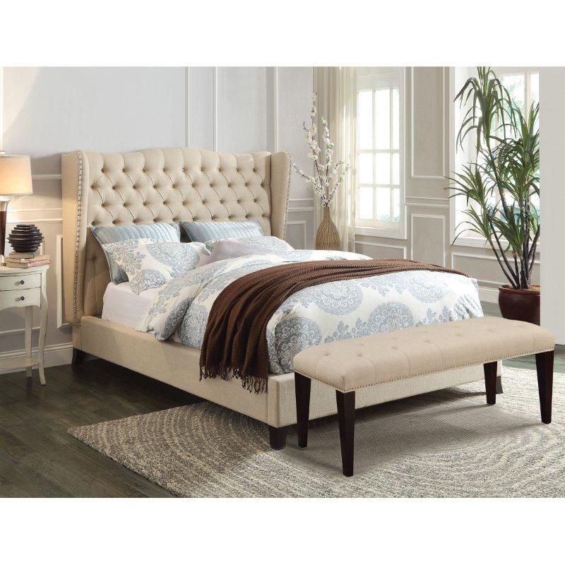HomeRoots Furniture Queen Bed, Beige Linen & Espresso - Linen, CA Foam (TB117) (285228)