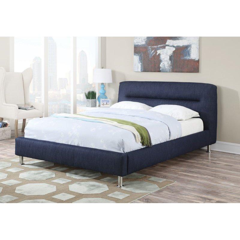 HomeRoots Furniture Queen Bed, Blue Denim - Denim Fabric, CA Foam (285570)