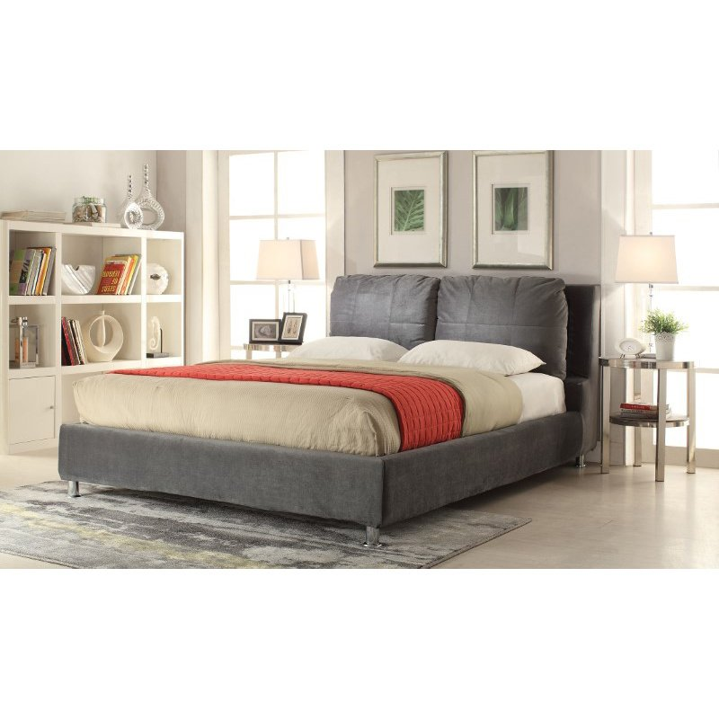 HomeRoots Furniture Queen Bed, Dark Olive Gray Fabric - Fabric, Wood Frame (285263)